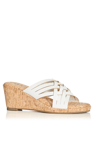 Plus Size Heather Flat Sandal - white