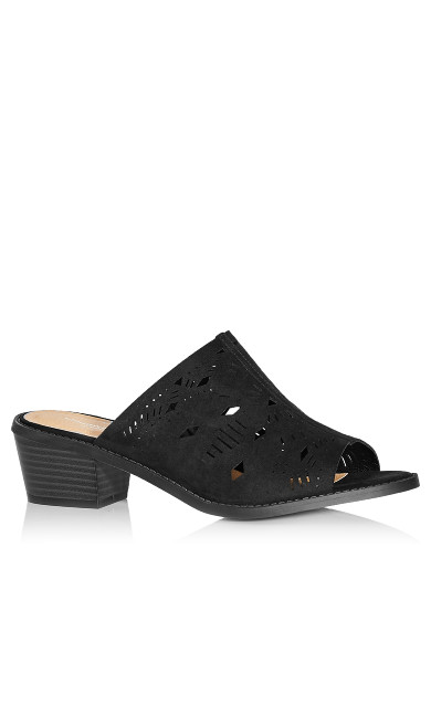 Plus Size Penny Perforated Slide - black