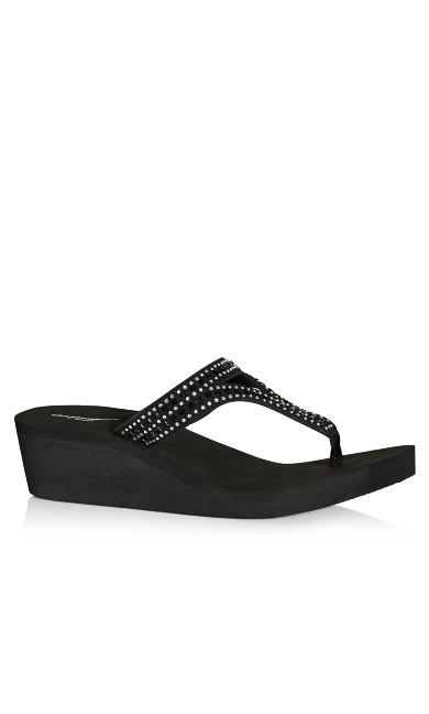 Sassy T-Strap Wedge - black