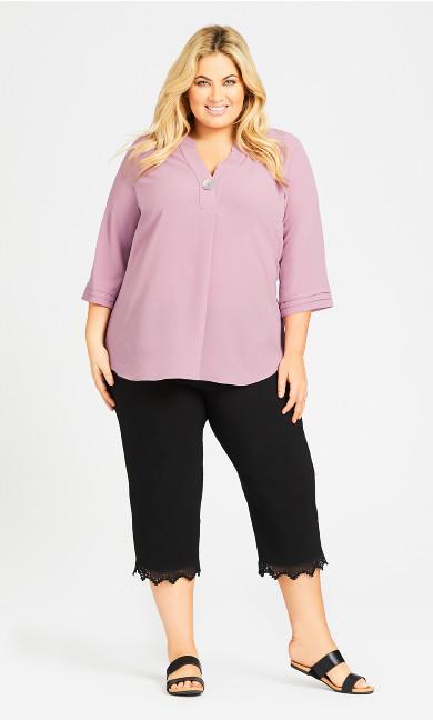 Plus Size Super Stretch Lace Capri - black