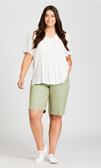 Plus Size Power Stretch Pull On Short - tea