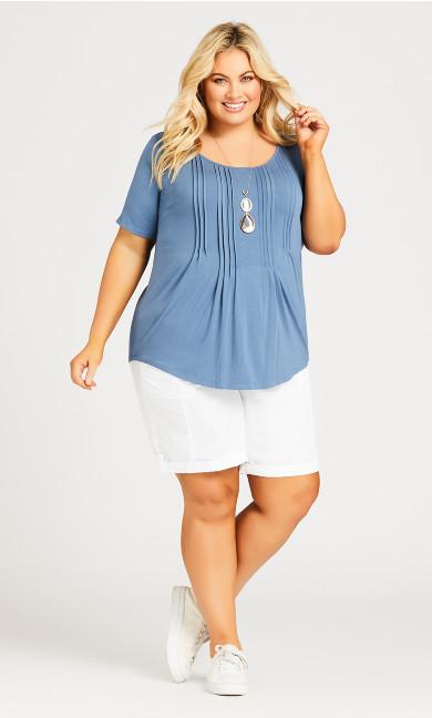 Plus Size Cotton Casual Short - white