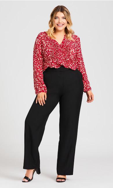 Plus Size Curvy Tummy Control Trouser Tall - black