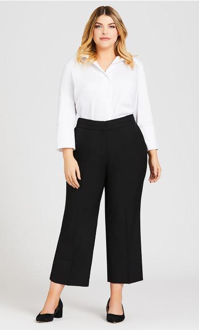 Plus Size Curvy Tummy Control Trouser Black - petite