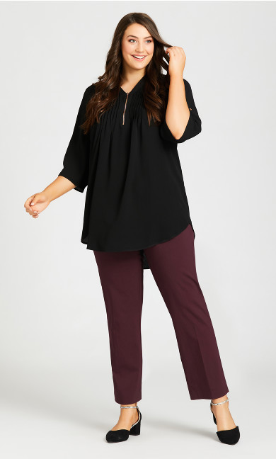 Plus Size Super Stretch Zip Pant Burgundy - tall