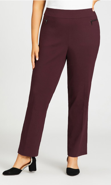 Super Stretch Zip Pant Burgundy - tall
