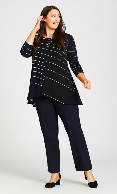 Plus Size Super Stretch Zip Pant Navy - tall