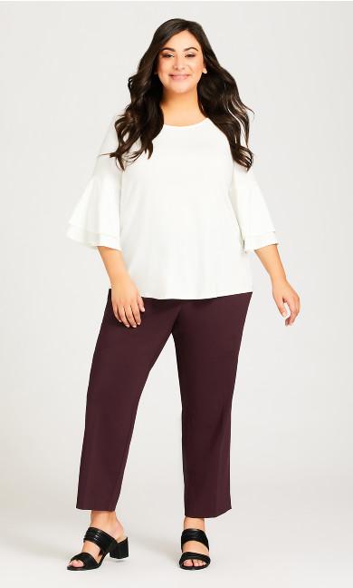 Plus Size Super Stretch Zip Pant Burgundy - petite