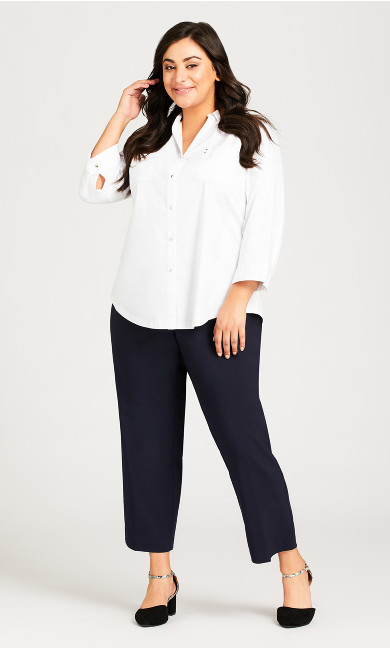 Plus Size Super Stretch Zip Pant Navy - petite