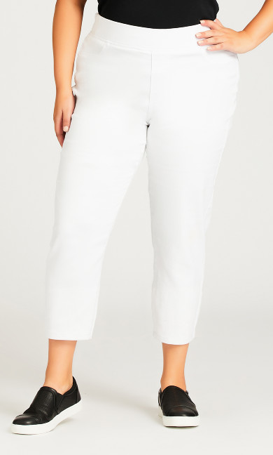 Butter Denim Pull On Pant White - petite
