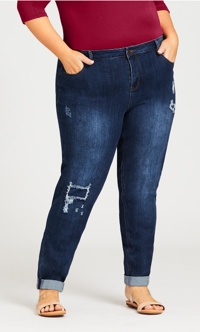 Girlfriend Rip Jean Dark Wash - tall