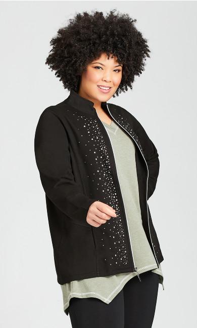 Plus Size Stud Front Jacket - black