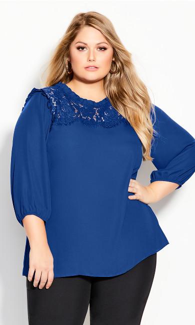 Plus Size Lace Angel Elbow Sleeve Top - lapis