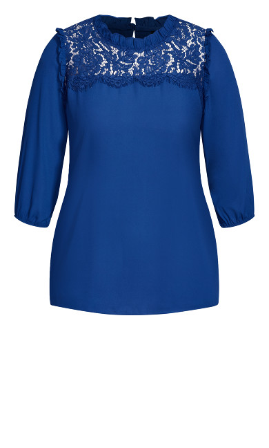 Lace Angel Elbow Sleeve Top - lapis