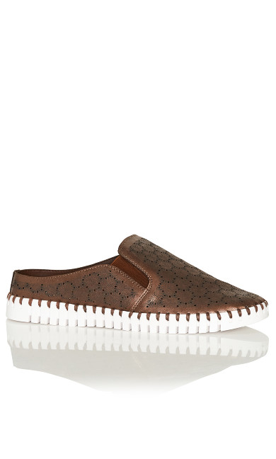 Billie Perforated Slip On - bronze