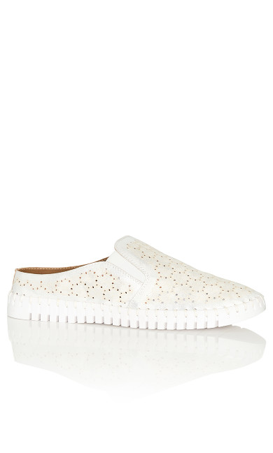 Billie Perforated Slip On - white