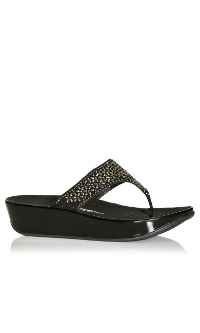 Plus Size Nala Thong Sandal - black