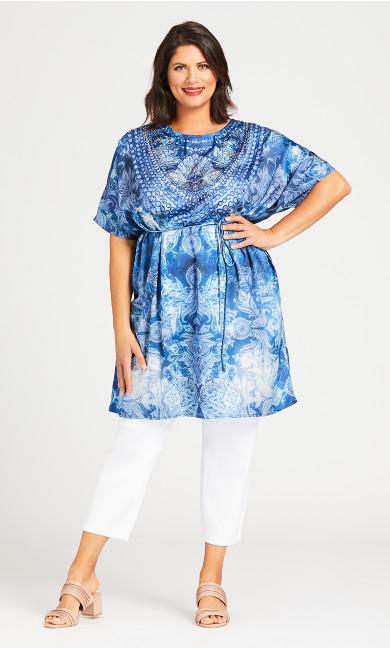 Plus Size Kaftan Bead Dress - blue