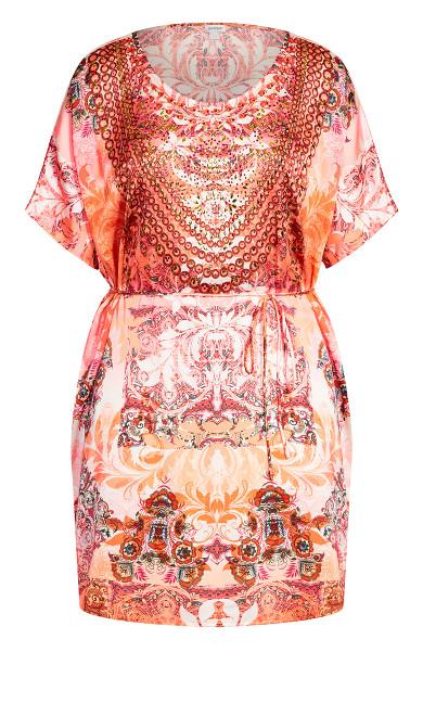 Kaftan Bead Dress - coral