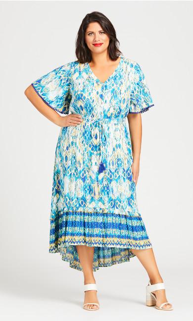 Plus Size Skye Tiered Maxi Dress - aqua
