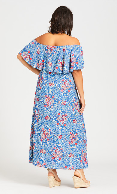 Off Shoulder Maxi Dress - blue