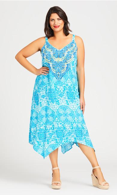 Plus Size Mia Trapeze Dress - blue