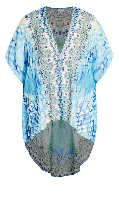 Ikat Beaded Kimono - aqua