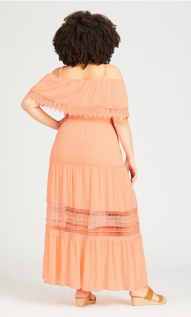 Sophie Lace Trim Dress - peach
