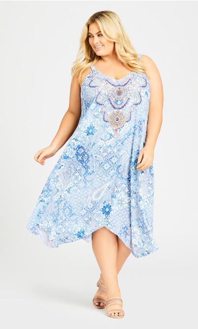 Plus Size Abigail Trapeze Dress - blue