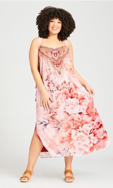 Plus Size Emily Beaded Dress - peach