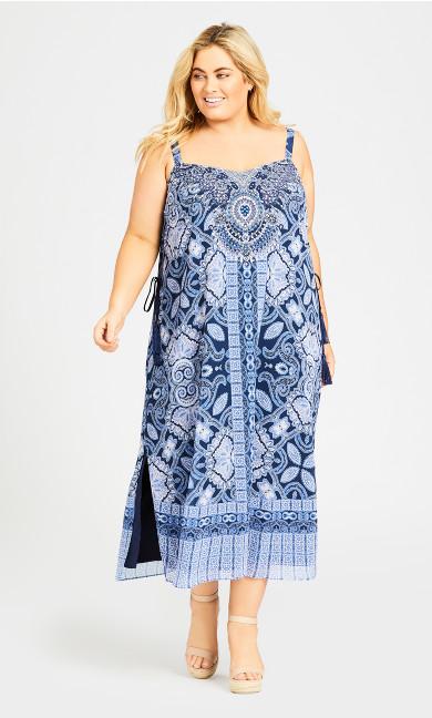 Plus Size Emily Beaded Dress - blue