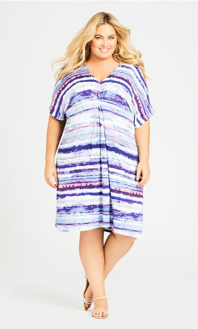 Plus Size Joanna Pleat Dress - blue