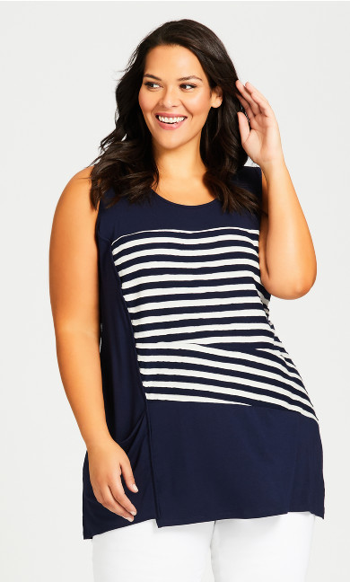 Plus Size Brynlee Spliced Tunic - navy