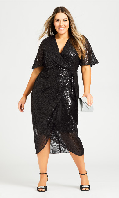 Plus Size Naomi Sequin Dress - black