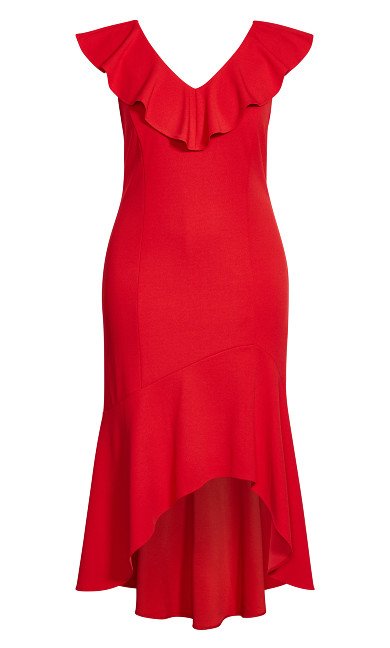 Destiny Ruffle Dress - red