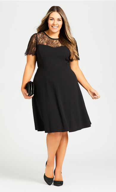 Plus Size Iris Lace Yoke Dress - black