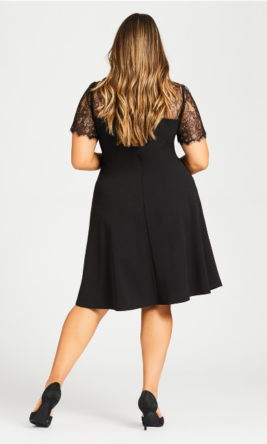 Iris Lace Yoke Dress - black
