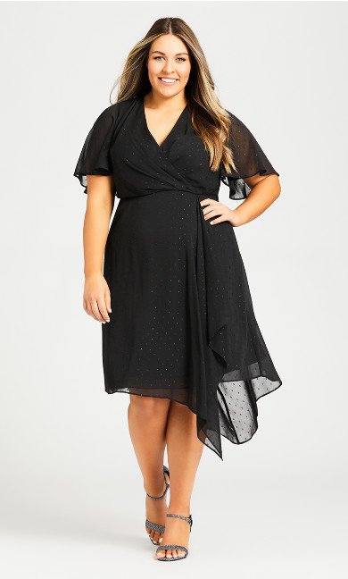 Plus Size Leah Flutter Dress - black