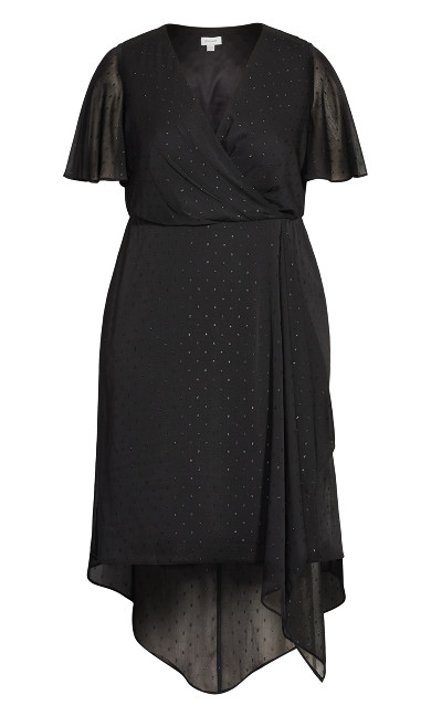 Leah Flutter Dress - black