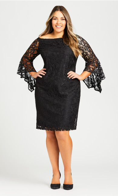 Plus Size Paris Lace Dress - black