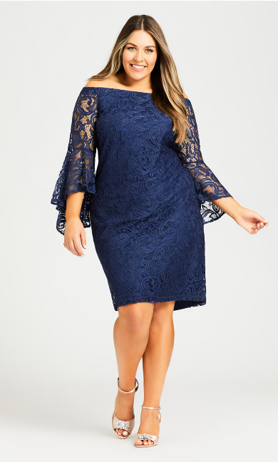 Plus Size Paris Lace Dress - blue
