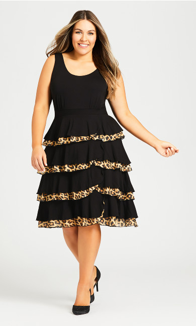 Plus Size Mariana Tiered Dress - black