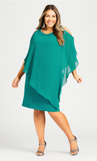 Plus Size Alani Beaded Dress - teal
