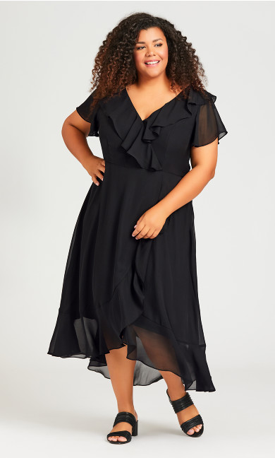 Plus Size Romance Print Dress - black