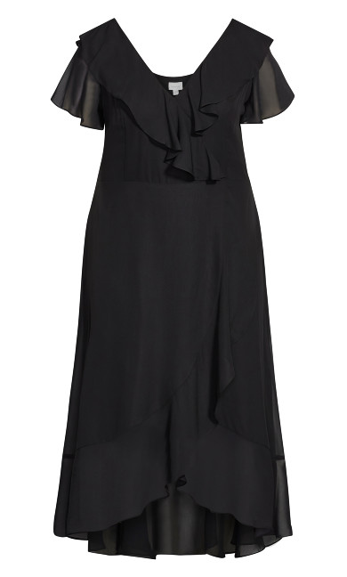 Romance Ruffle Dress - black