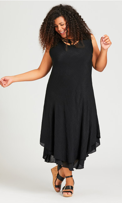 Plus Size Bias Lace Dress - black