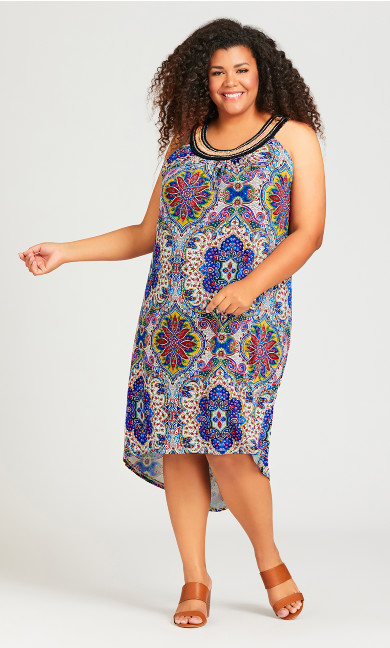 Plus Size Beaded Print Dress - ivory print