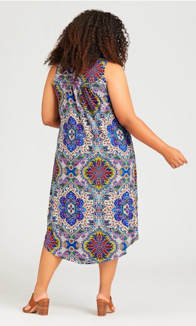 Beaded Print Dress - ivory print