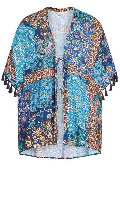 Tassel Print Kimono - teal