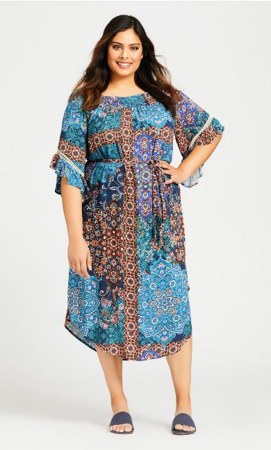 Plus Size Shirred Smock Dress - teal